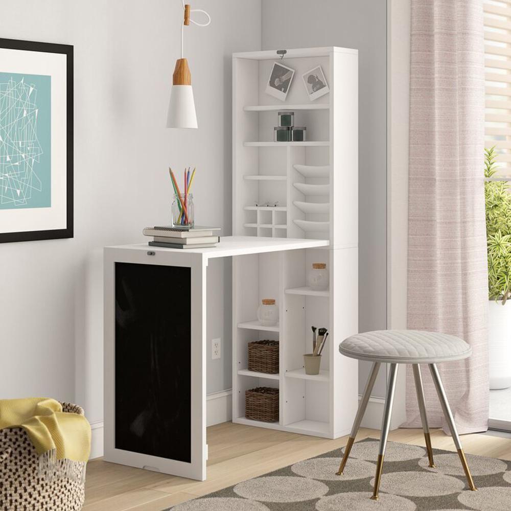 25 In Rectangular White Floating Desk With Built In Storage In 2020 Fold Down Desk Storage Cabinet Shelves White Floating Desk