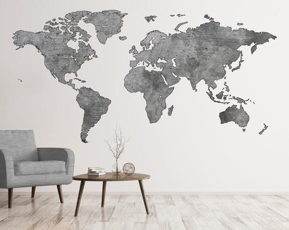 Greyscale Map Wall Art World Map Decal Big World Map Decal Etsy Big World Map Map Wall Art Map Wall Decal