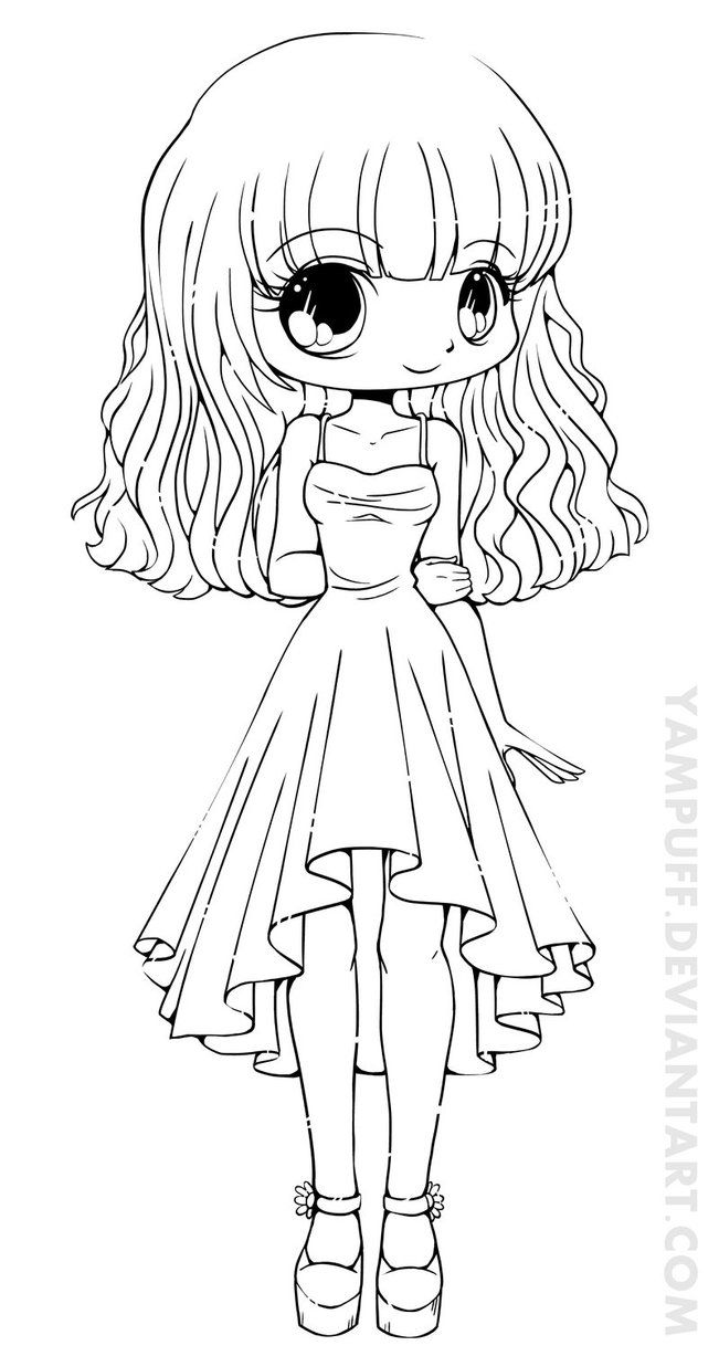 Teej Chibi Lineart Commission By YamPuff On DeviantART Girl Coloring Pages For Kids