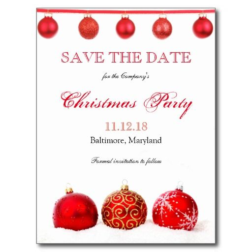 4ee627683b10 Modern Red Ornaments Save The Date Christmas Party Announcement ...