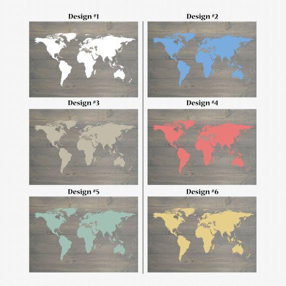 Custom World Map | Pallet Board | Shiplap | Weathered Gray ...