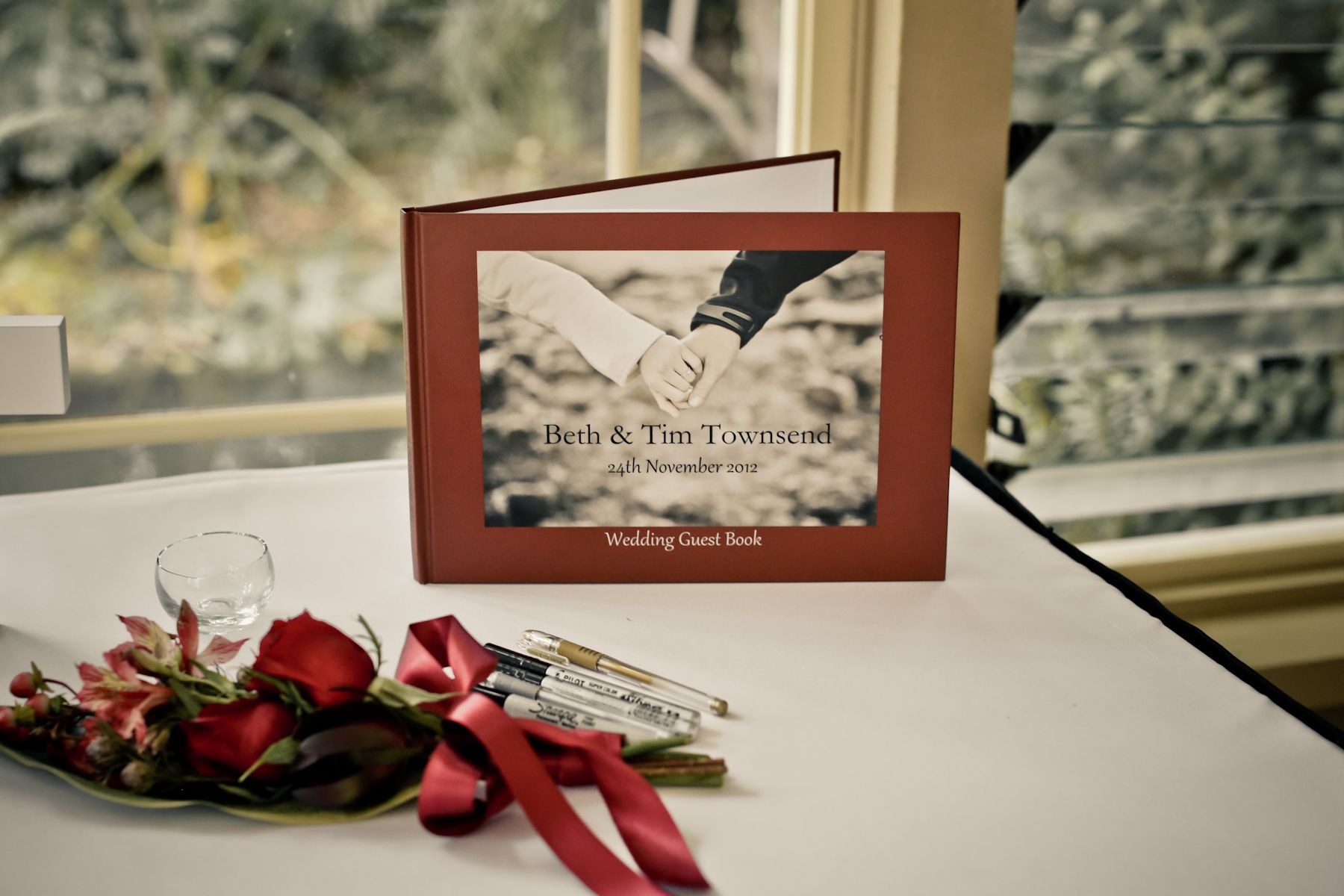 Using engagement photos for guest book