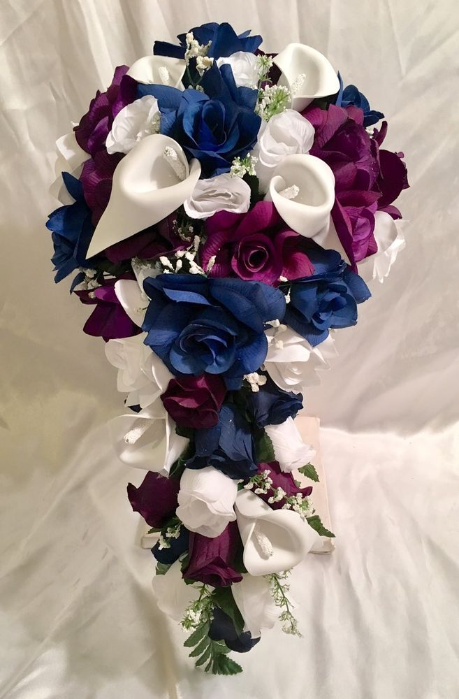 Marine navy blue plum purple calla lily bridal bouquet package marine navy blue plum purple calla lily bridal bouquet package wedding flower ebay mightylinksfo