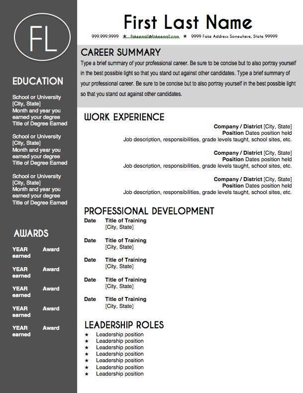 Modern Resume Templates Word Adorable Teacher Resume Template  Sleek Gray And White  Microsoft Word