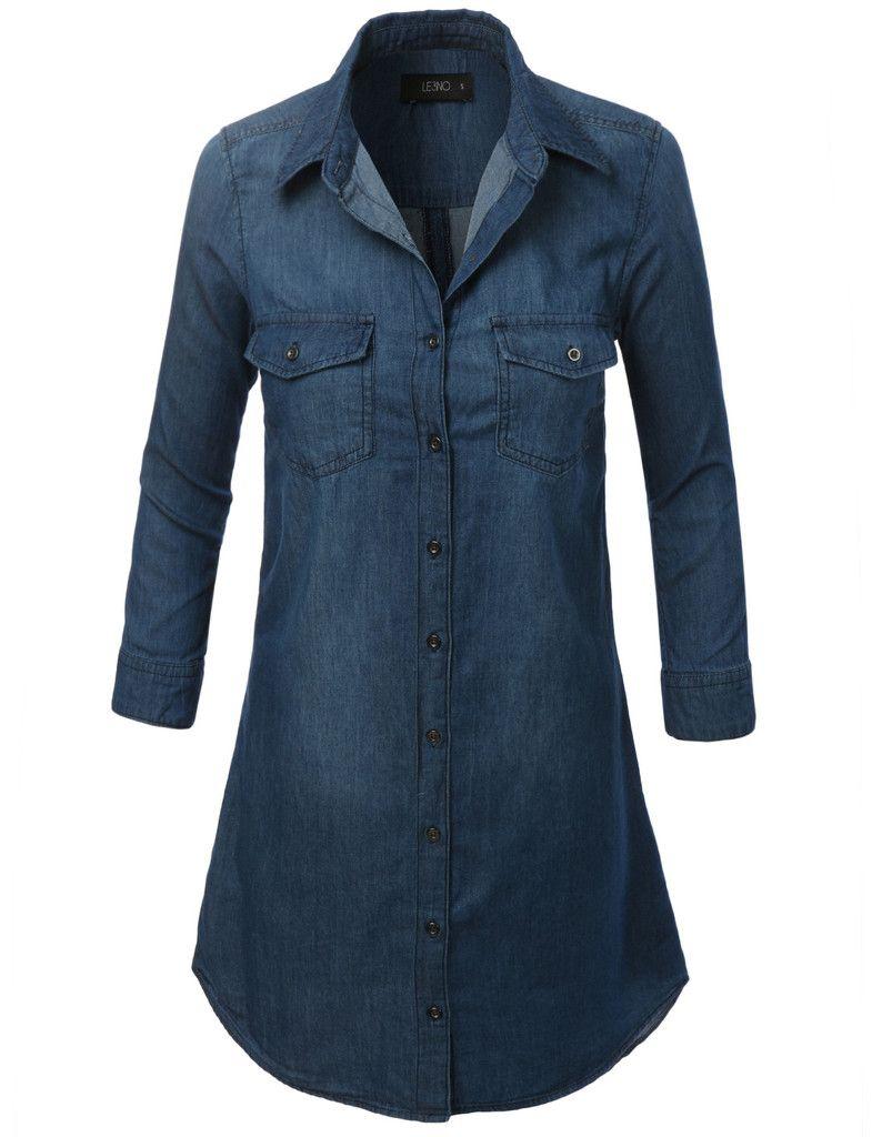 44993d82f2c LE3NO Womens Cuffed 3 4 Sleeve Chambray Denim Shirt Dress