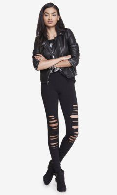 DISTRESSED SEXY STRETCH LEGGING from EXPRESS