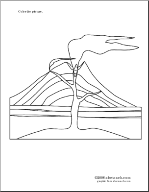 Coloring page volcano color this picture of an erupting volcano several free volcano printables at abcteach ccuart Gallery