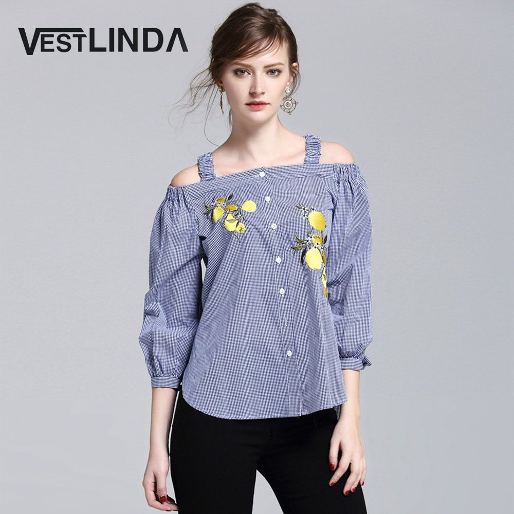VESTLINDA 2017 Blouse Embroidery Shirt Women Blouses Off Shoulder ...