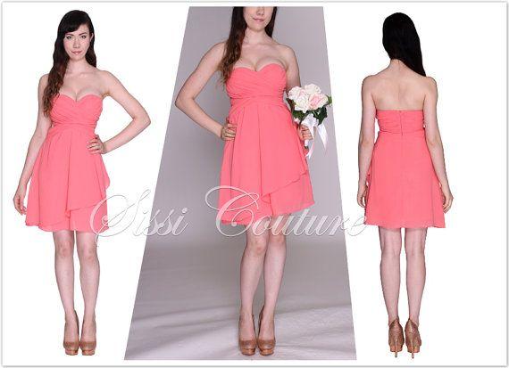 strapless sweetheart short coral bridesmaid dress marla landreth