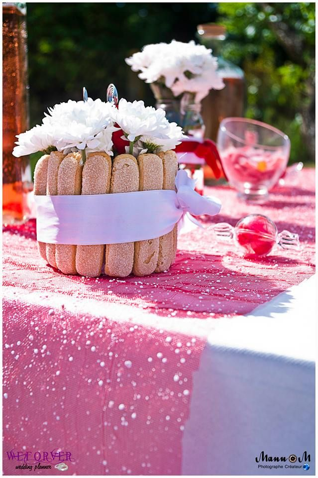 Centre de table pour un mariage th me gourmandise for Deco table gourmandise