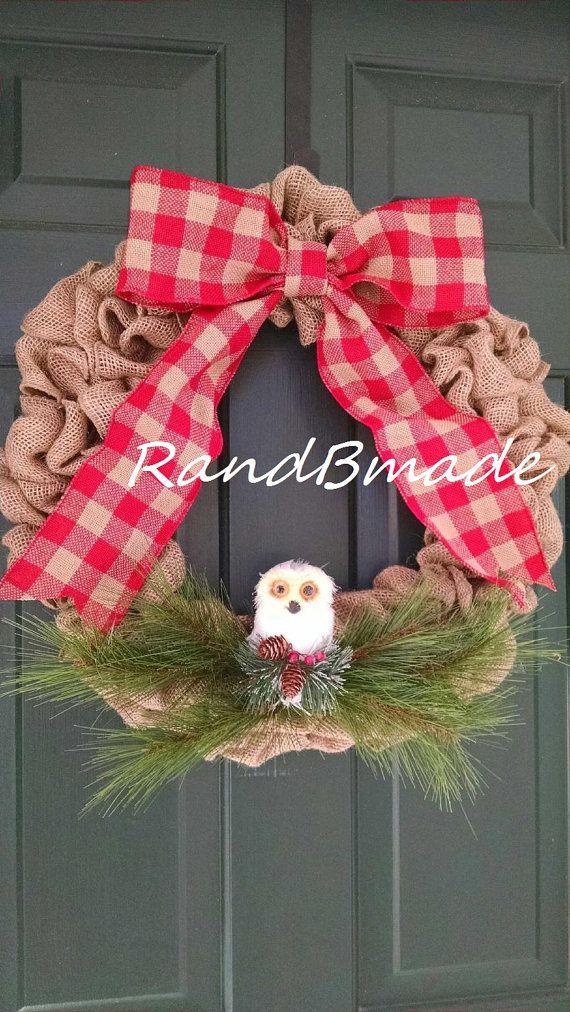 Snowy Owl Burlap Christmas Winter Wreath by RandBmade on Etsy