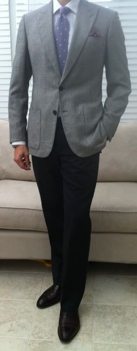 Jacket grey what colour trousers with What Color