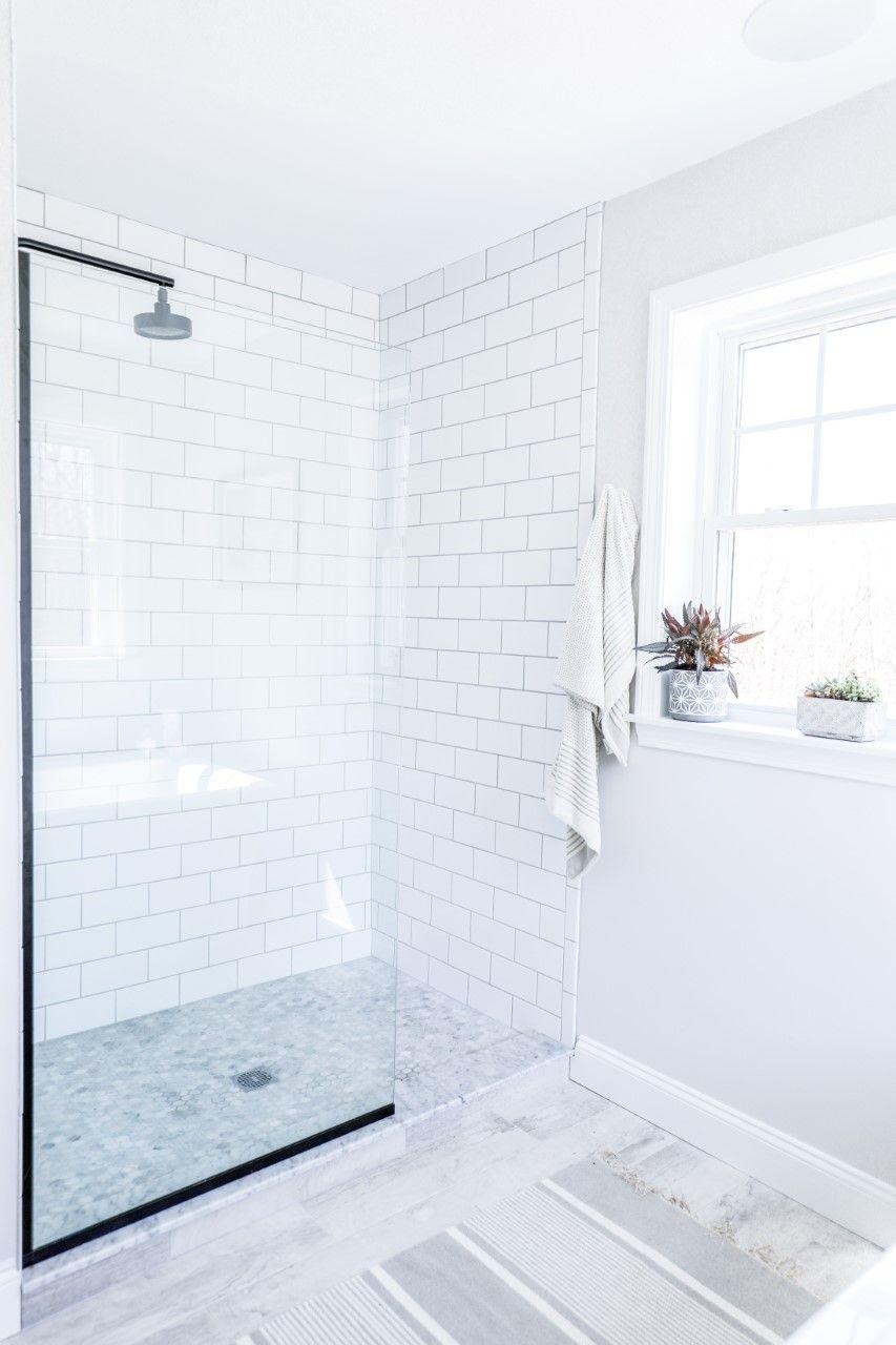 A Frameless Glass Shower Screen Accentuating A Gorgeous Modern Farmhouse Bathroom Design In 2020 Bathrooms Remodel Bathroom Remodel Designs Bathroom Design Inspiration