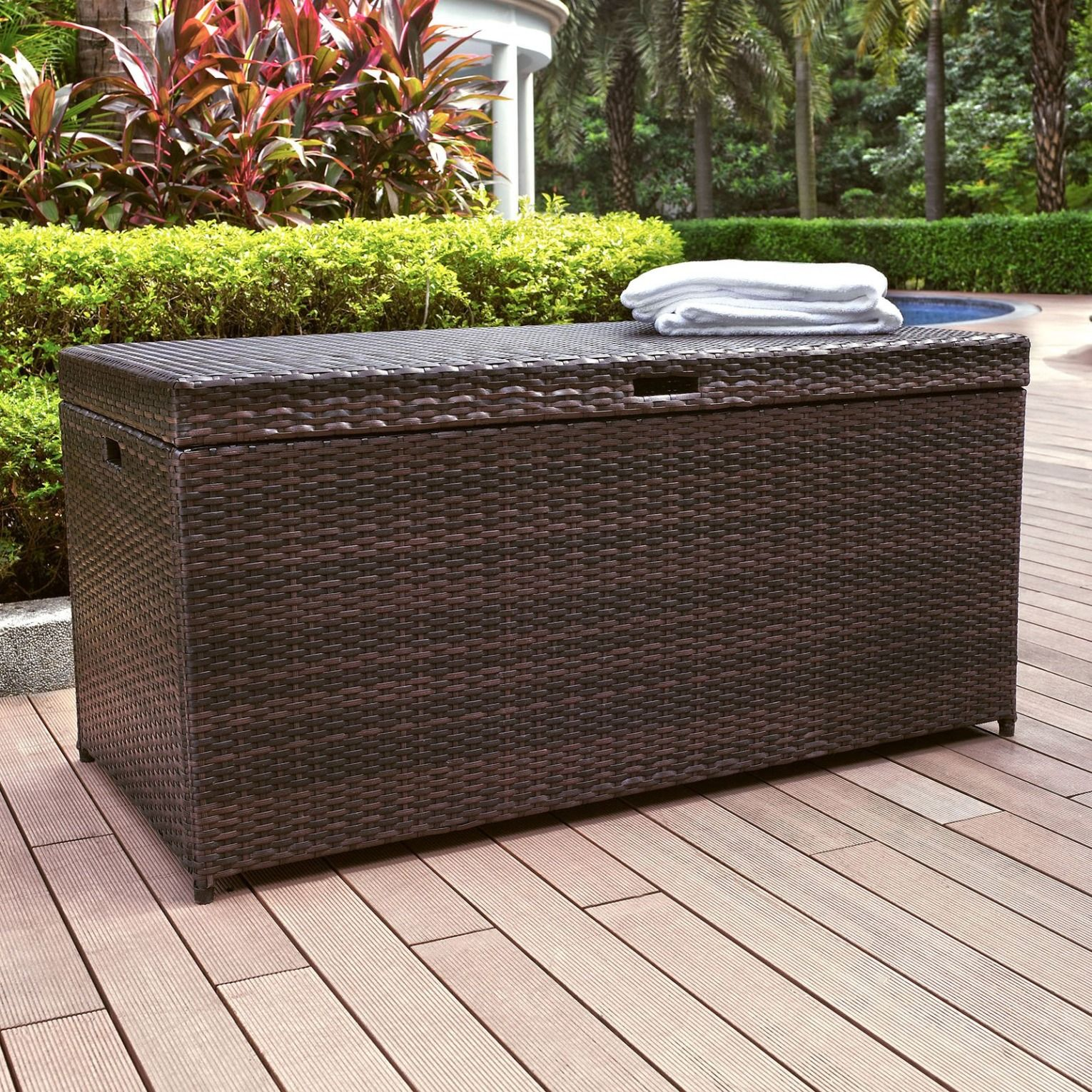 Coral Coast Berea 52 In Outdoor Wicker 100 Gallon Storage Bin Wicker Storage Bins Outdoor Storage Bench Patio Storage