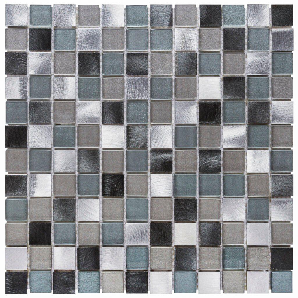 14d3c3432da7 Malla Decorativa Flare con mezcla de cuadros de cristal en tonalidades  grises y gris azulado con