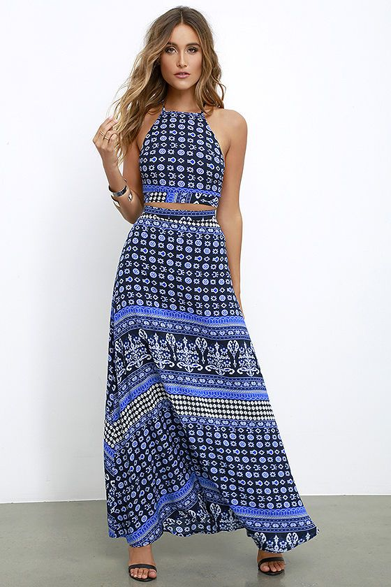 Energy Field Blue Print Two-Piece Maxi Dress | Halter crop top ...