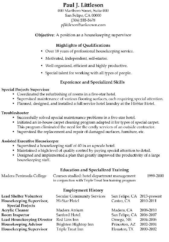 resume sample housekeeping supervisor with regard housekeeper ...