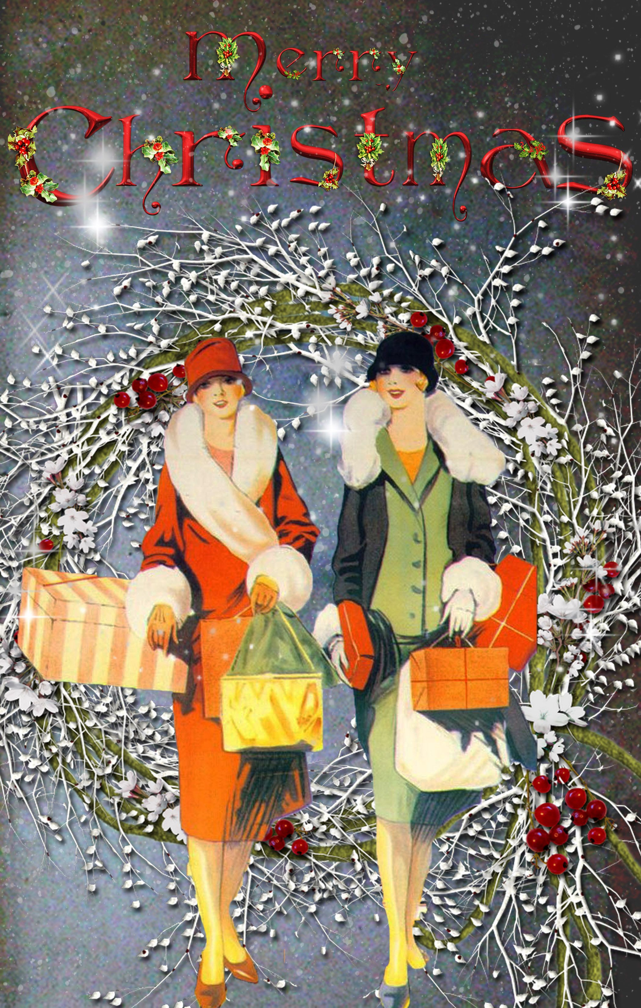Stunning vintage Christmas Cards customizable also