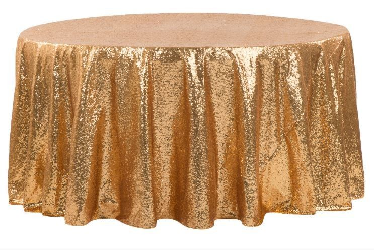 Glitz Sequin 132 Round Tablecloth Blush Rose Gold Sequins