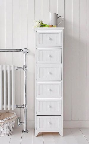Tall Slim Bathroom Storage Furniture With 6 Drawers For