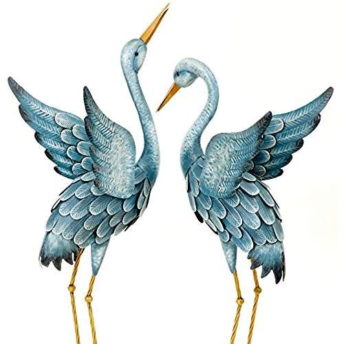 Bits and Pieces Japanese Blue Heron Metal Garden Sculpture Set - Two