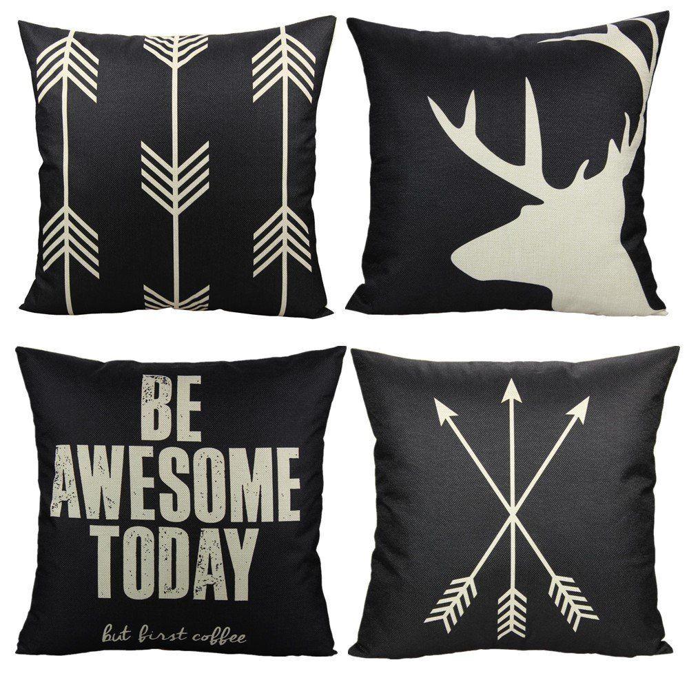 Set Of 4 Throw Pillow Covers Case Cotton Linen Decorative Cushion Decor 18X18