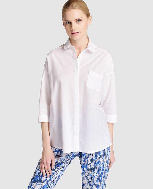 7792c19cf Camisa de mujer Sita Murt en blanco con bolsillo | SS 2016 WOMAN ...