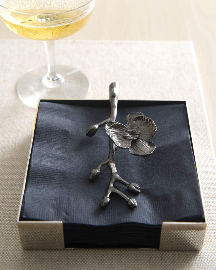 Michael Aram Black Orchid Cocktail Napkin Holder In 2019 Cocktail Napkin Holder Napkins Black Orchid