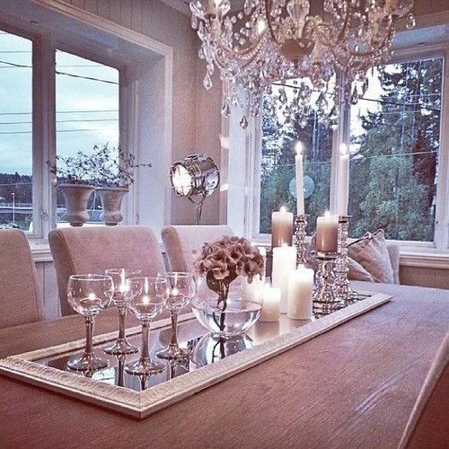 Love The Idea Of Mirror Under Centerpiece Dining Table Tray Room