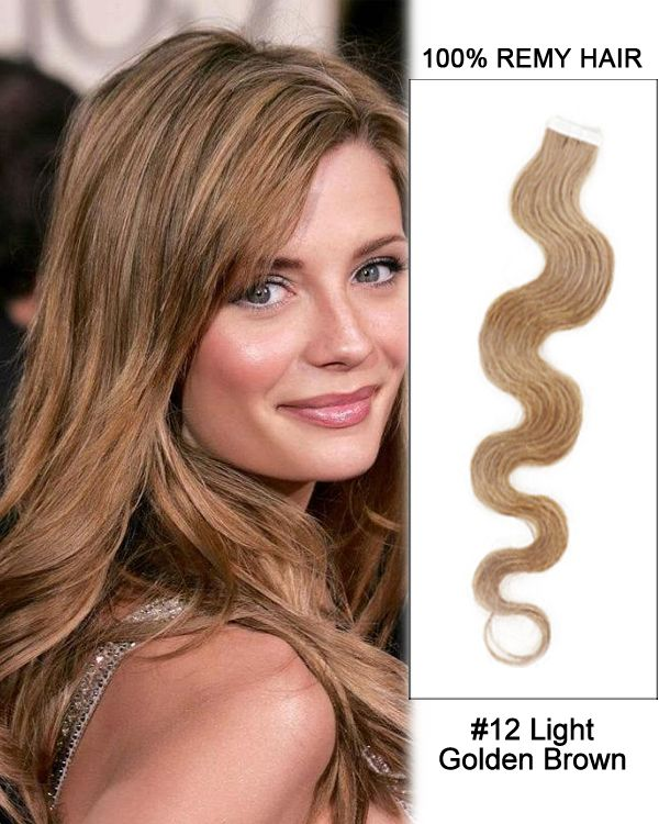 14 12 Light Golden Brown Body Wave 100 Remy Hair Tape In Hair