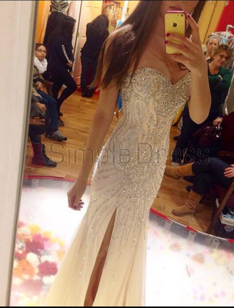 Simple Dress Luxurious Mermaid Strapless Slit Long 2015 Discounted