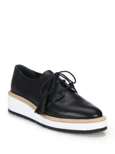 Loeffler Randall - Callie Leather Platform Oxfords Black Tie Shoes 4e7f205ce