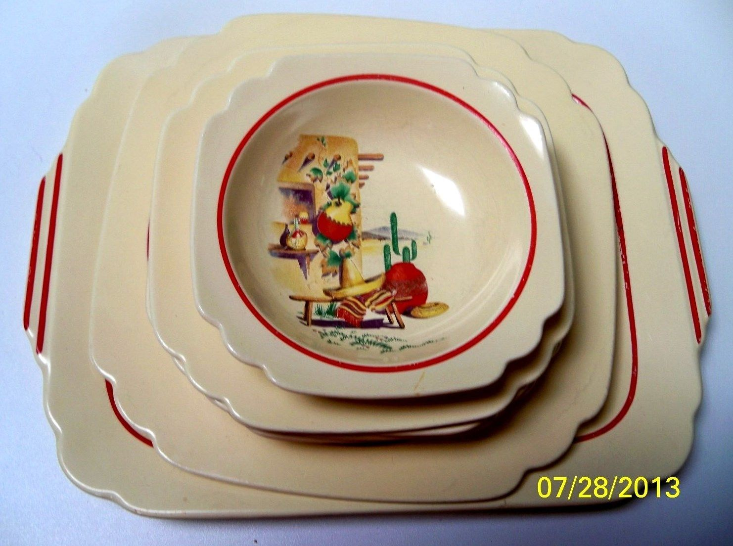 Vintage Homer Laughlin Mexicana Kitchen Kraft Bowls Saucers u0026 Plates - Nine Pieces & Lot of 9 pcs.Vintage Homer Laughlin Mexicana Kitchen Kraft Bowl ...
