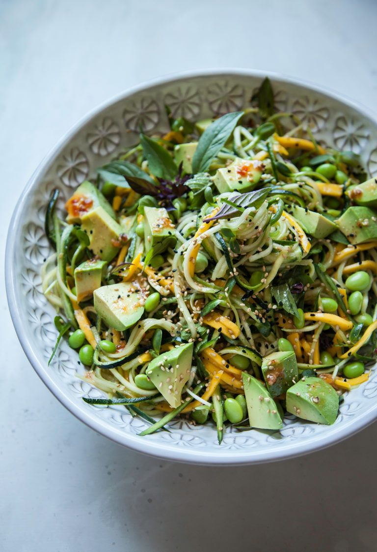 COLD VEG & MANGO NOODLES WITH HOT HONEY SESAME DRESSING