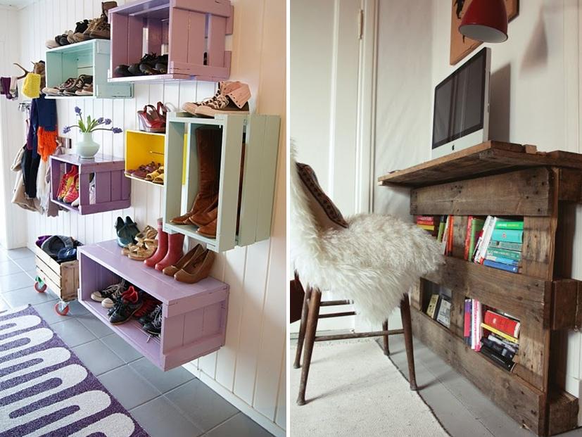 Petit bureau mural en palettes et caisses en bois peintes de