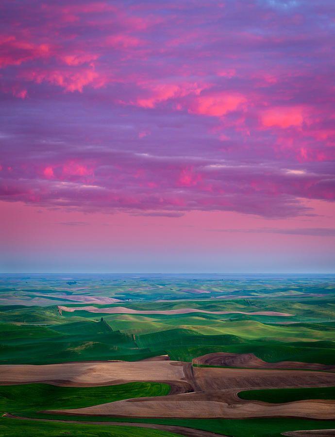 Palouse Fiery Dawn By Inge Johnsson Beautiful Sky Beautiful