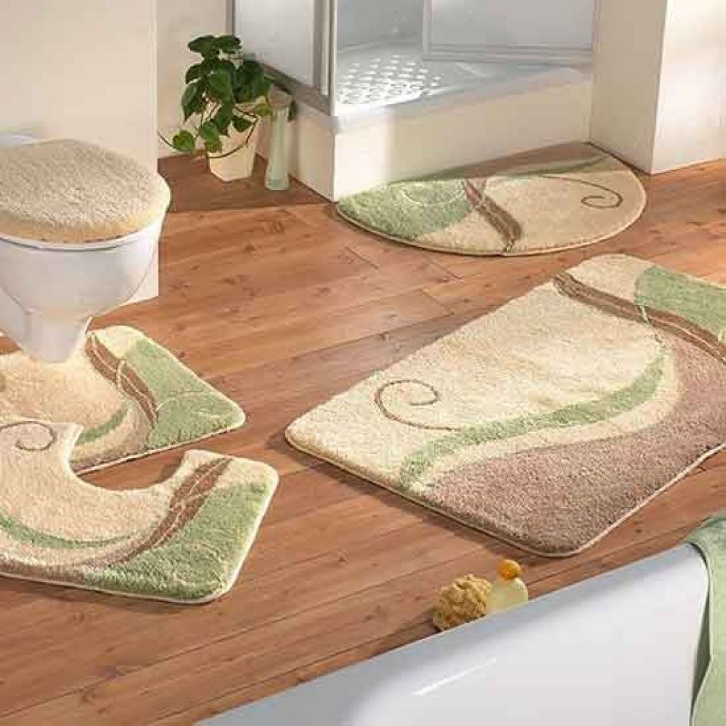 Bathroom Rugs And Mats With Green Brown And Cream Accent