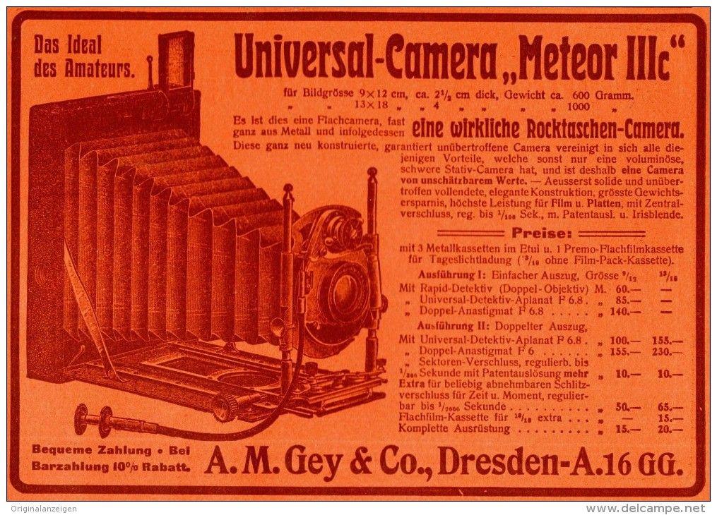 Original-Werbung/ Anzeige 1906 - CAMERA METEOR IIIC / GEY - DRESDEN - ca. 180 x 130 mm