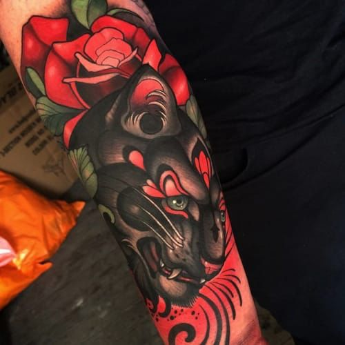 50 Glorious Rose Tattoo Design Ideas That You Ever Seen: Neo-Traditional Panther Tattoo By Joe Frost