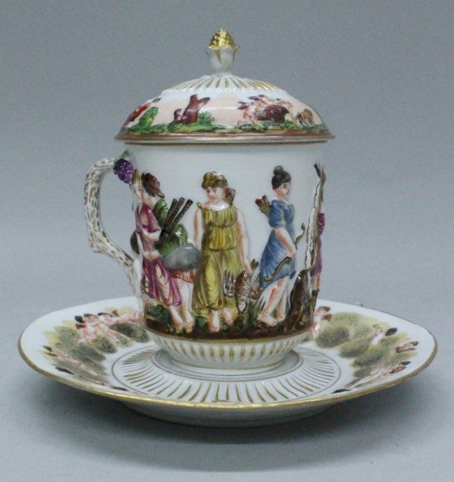 Italy Porcelain —  Capodemonte Chocolate Cup and Saucer and Lid, 19th Century  (650x690)