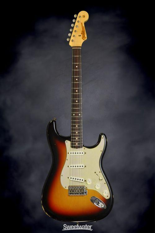 Fender Custom Shop Gt11 Heavy Relic Stratocaster Olympic White 3 Tone Sunburst Sweetwater Exclusive Fender Custom Shop Sunburst Fender