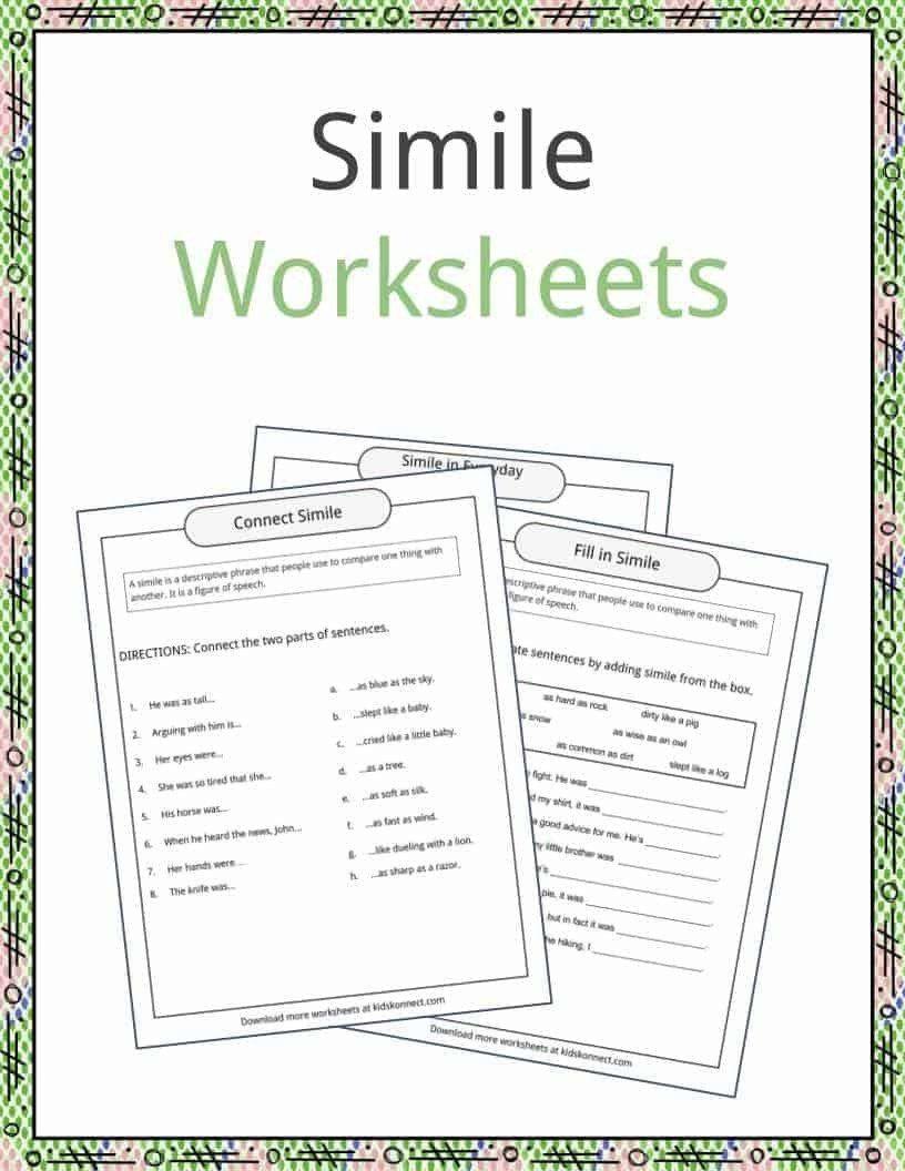 Similes Worksheets For Middle School Simile Examples Definition And Worksheet In 2020 Simile Worksheet Free Printable Handwriting Worksheets Kids Worksheets Printables