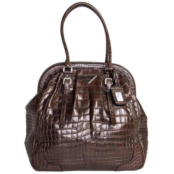Preowned Prada Brown Crocodile Vintage Style Bag 25 100 Liked On Polyvore Featuring Bags Handbags Brown Prada Handbags Prada Round Pur With Images Purses Crossbody
