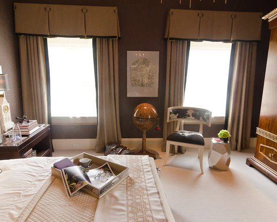 Superb Decorating, Remarkable Contemporary Bedroom With Cool Light Brown Box Pleat  Valance Also Lelegant Light Brown
