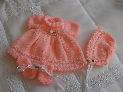 Hand Knitted Dress Set For A 12 Quot Reborn Baby Doll Peach