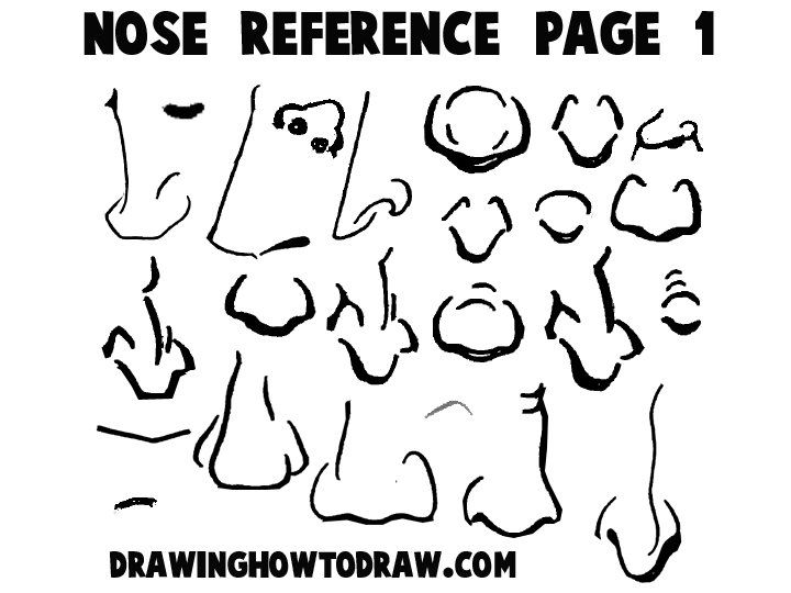 Cartoon Noses Reference Sheets And Examples For Drawing Practice How To Draw Step By Step Drawing Tutorials Cartoon Noses Cartoon Drawings Drawing Tutorial