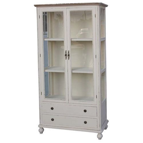 BOOKCASE CHINA DISPLAY CABINET SHABBY CHIC VINTAGE FRENCH STYLE ANTIQUE  CREAM in Home, Furniture u0026