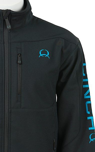 2def182b0e4 Cinch Tech Men s Black with Turquoise Logos Bonded Jacket ...