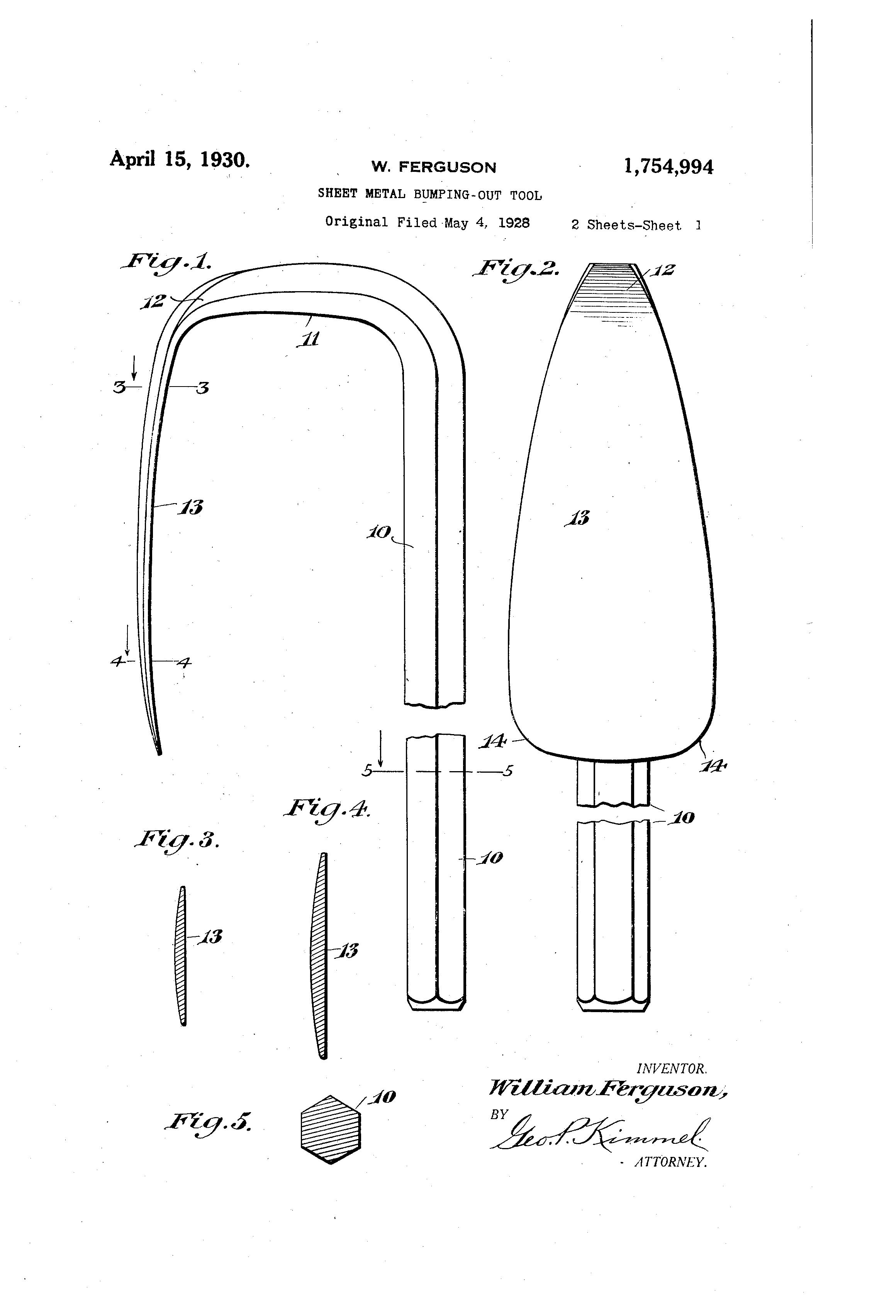 Patent US1754994 - Sheet-metal bumping-out tool - Google Patents