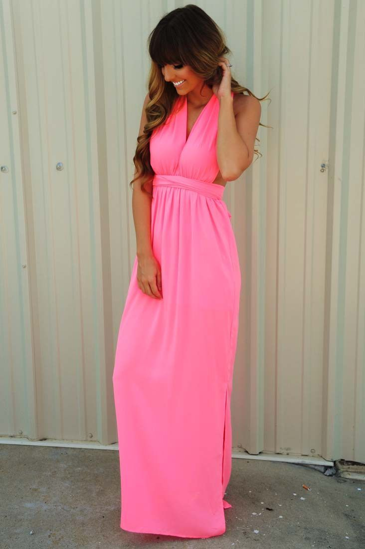 Hot pink maxi dress  Feeling So Lovely Maxi Dress Neon Pink  My ShopHopes Faves